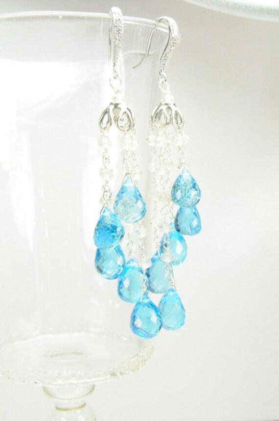 Swiss Blue Topaz Bridal Earrings/ Bridal Jewelry Blue Gemstone Earrings, Blue Topaz Statement Earrings