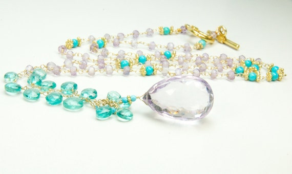 Apatite and Ametrine Necklace in Gold/Bridal Statement Necklace/Statement Bridal Jewelry