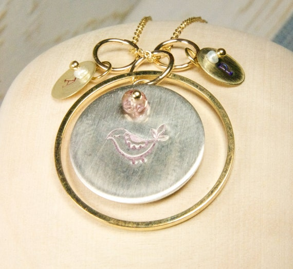 Mother Bird with Baby's Initials Necklace:) Bird Charm Necklace