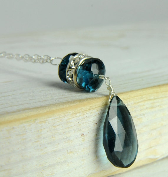 London Blue Topaz Statement Necklace in Sterling Silver:) Bridal Jewelry Collection