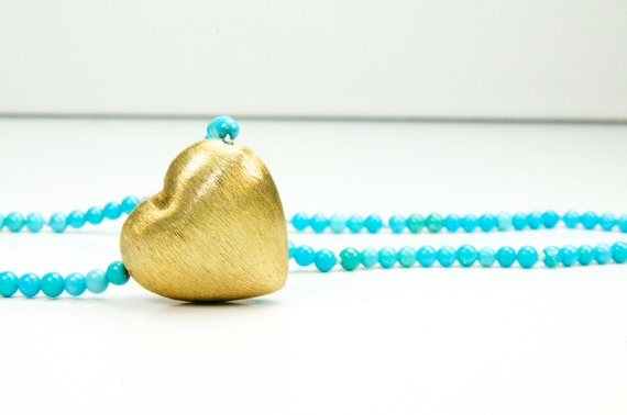 Sleeping Beauty Turquoise Vermeil Heart Necklace