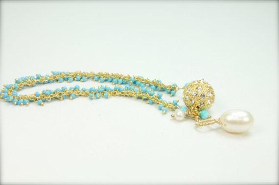 Dainty Turquoise Cluster Bracelet,  Bridal Bracelets, Beaded Turquoise Bracelet