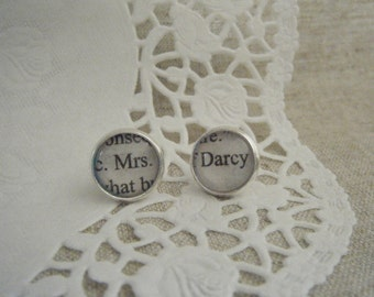 Silver Plated Pride and Prejudice Stud Earrings (Mrs Darcy)