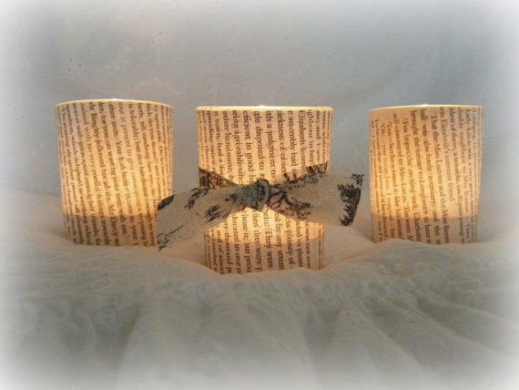 LAST SET~ (3) Pride & Prejudice Glass Candle Votives
