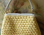 1960's Yellow Rafia Handbag By Morris Moskowitz