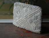 1950's Heavily Beaded And Sequined Ivory White Formal Handbag
