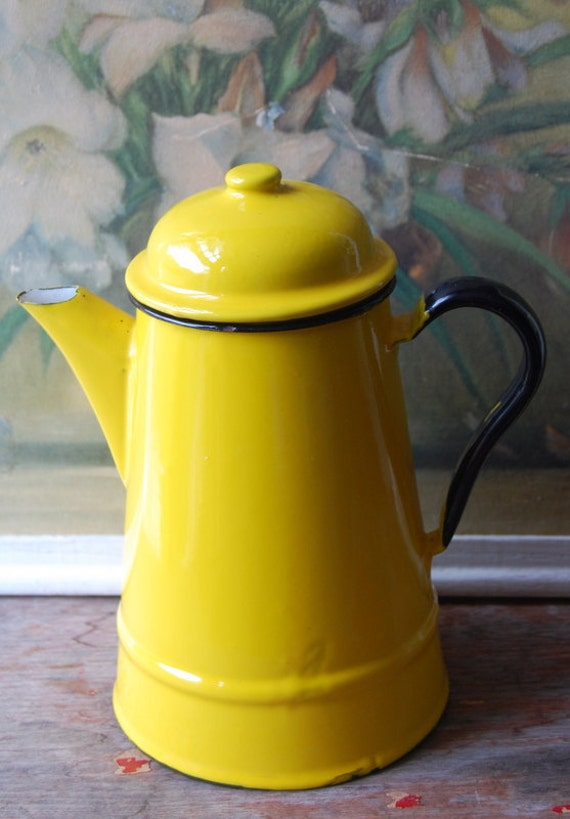 Vintage Bright Yellow Enamel Tea Kettle