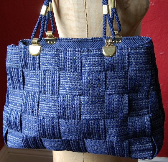 1970's Blue Woven Tote With Gold Tones By Bertini Of Italy