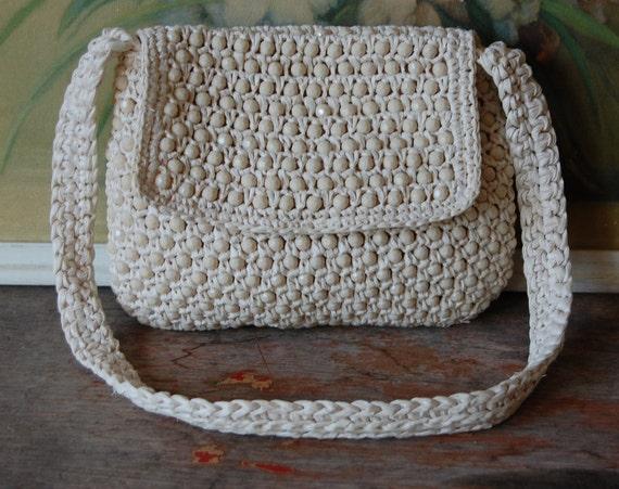 1960's Ivory Italian Beaded And Rafia Handbag By Magid