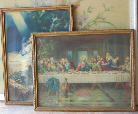 Pair Of Mid Century Religious Prints In Wood Frames