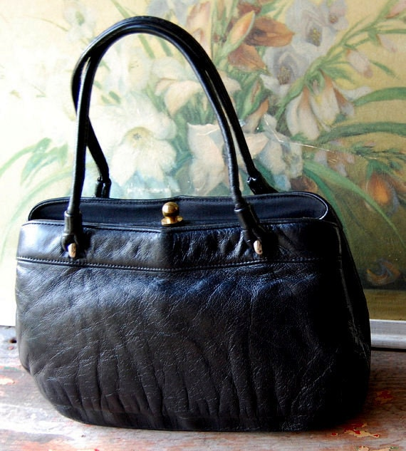 1960's Soft Black Leather Tote By Etra