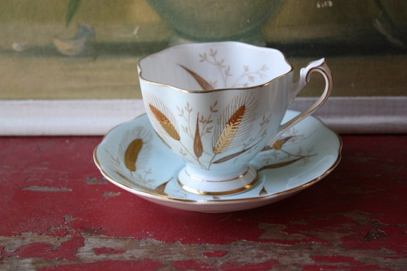 Vintage Powder Blue Queen Anne English Teacup and Saucer