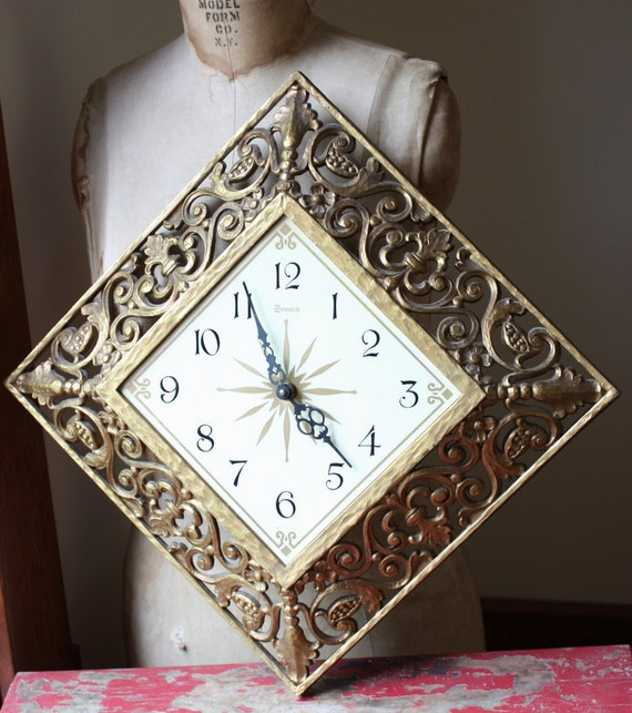 1960's Hollywood Regency Gold Clock By Syroco