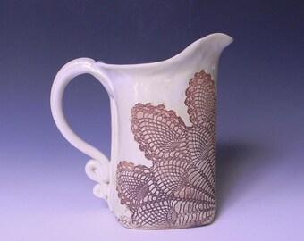 Pineapple Lace Impressed Ceramic 1 Quart Pitcher