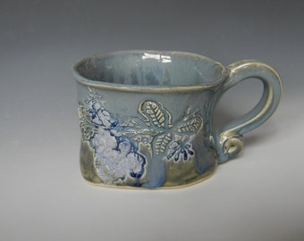 Lace-Impressed Ceramic Soup Mug