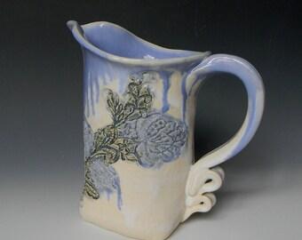 Blue White Rose Lace Ceramic 1-qt. Pitcher