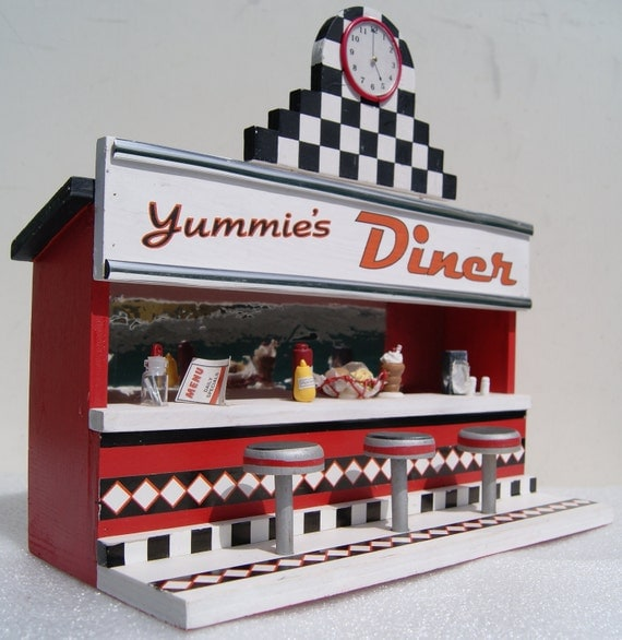 Vintage 1950s Retro Yummie S Diner 3d Wooden Painted Wall