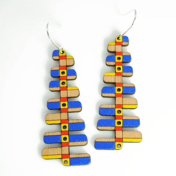 XYLOPHONE - Hand Painted Laser Cut Birch Wood Earrings