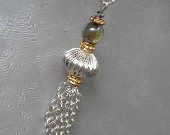 Two Tone Tassel Pendant Necklace