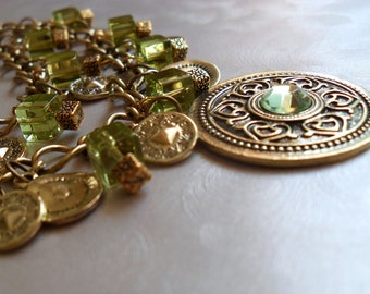 Peridot Medallion and Coin Necklace