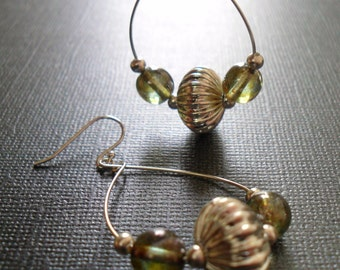 Silver Hoop Bead Earrings