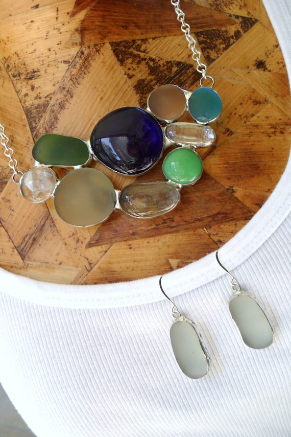 Sea Glass Necklace With Matching Earrings