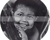 Latin american indigenous Native Indian Child Ancestors of Orinoco River Venezuela Brasil A4 2 inch circles collage digital sheet No. 19