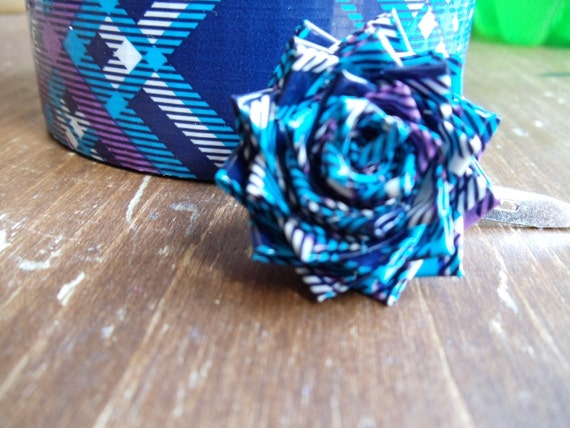SALE Blue and Purple Plaid Duck Duct Tape Bitty Rose on Alligator Clip