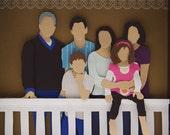 "Family portrait - 9""x9"" CUSTOM cut paper"