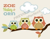 Owls Digital Art Collection, Personalized DIY Printable