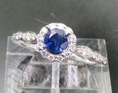 Engagement Ring Blue Sapphire In 14k Gold and Diamond Halo Setting Matching Band Available Bridal Jewelry Wedding Set