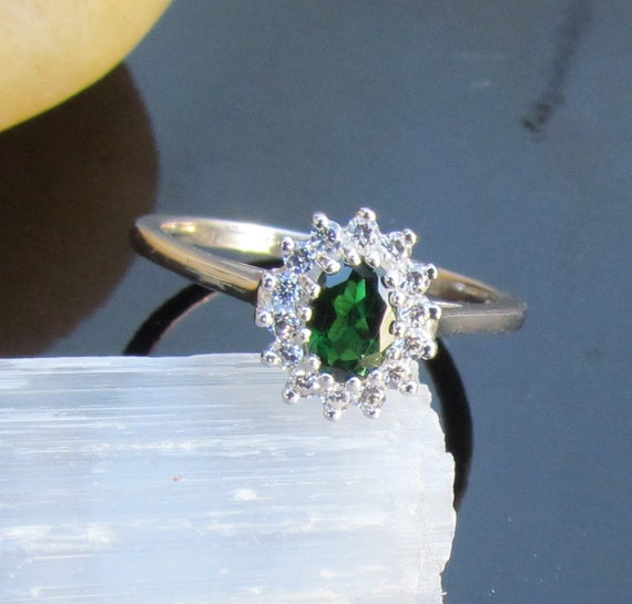Tsavorite Garnet Ring in Sterling Silver with Cubic Zirconia Accents Engagement Alternative January Birthstone Gemstone Jewelry