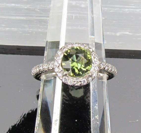 Round Green Tourmaline Ring in Sterling Silver Halo Setting October Birthstone