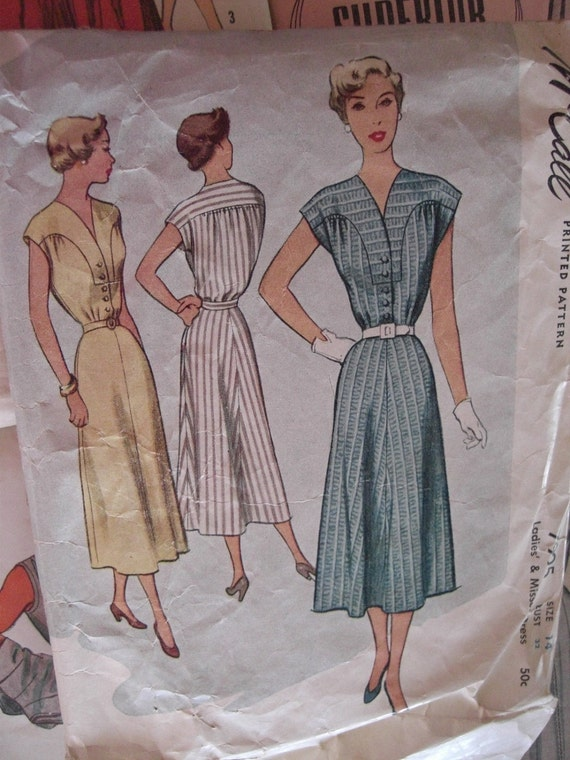 Vintage Sewing Pattern 1950s Belted Dress