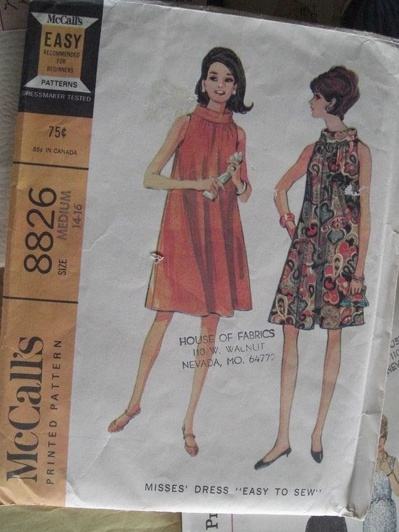Vintage Sewing Pattern 1960s Flared Dress