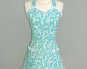 Reserved for Joanna Only - Flirty Vintage Style Sweetheart Scalloped Apron in an Aqua Floral with White Lace Trim  - Custom Order Request