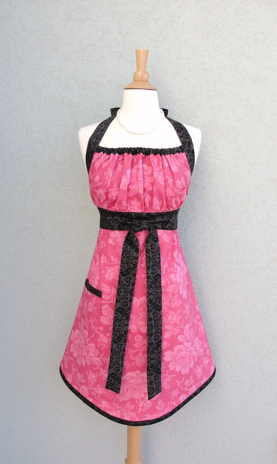 Sale...Black Raspberry Halter Hostess Apron with Black Damask Accents - Ready to Ship