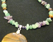 Long Tiger Eye, Amethyst, and Green Aventurine Necklace