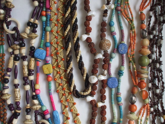 50% off! Lot of 9 clay, wood, seed, ceramic & natural necklaces - vintage junk jewelry - wacky tacky