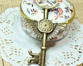 2 PCS Antique Bronze Key Of Time Charm /Pendant /Drop - 78x45mm - FB0037