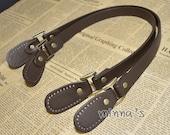 1 Pair Artificial PU Leather Handles -(brown ) - 56cm - LBH031