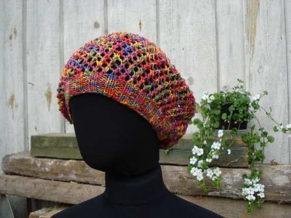 Multicolor  Hand Knit Mesh Beret. Slouchy Summer Hat. Lace Knit Fishnet Beanie. One size fits all. Ready to ship.