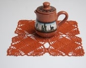 Hand crocheted doily, new, 7 and one half inch square, burnt orange, umber, rust, home table decor, frame for wall decor.