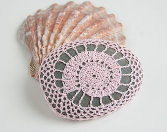 Crochet Lace  Stone // Rustic Beach // Shell Pink // Wedding Decor // Ringbearer Pillow // Gift for the home // Gift for her