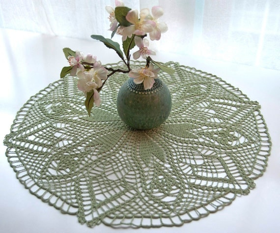 Hand crocheted sage doily, new, 18 inches round, light olive green, home table decor, frame for wall decor