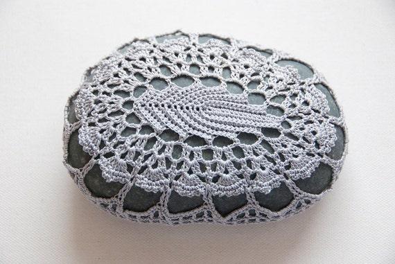 Hand crochet lace beach stone silver grey gray leaf, dark turquoise river rock, housewarming gift, bowl element