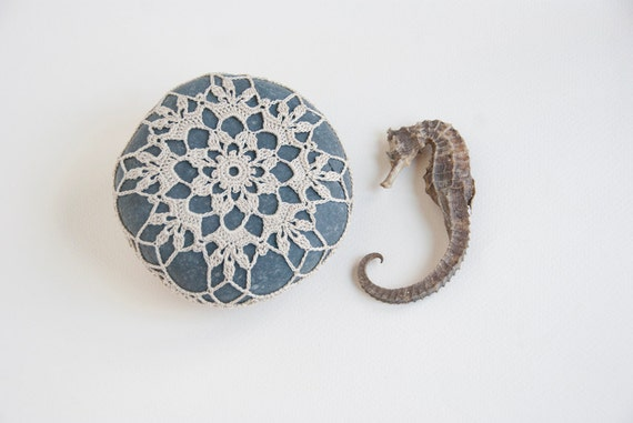 crochet lace stone // rustic beach // dark turquoise river rock // housewarming gift // cottage chic // Wedding decor // ring bearer pillow