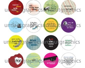 1.5 Inch Circles Funny Sayings for Pin Back Button Makers Digital Collage Sheet
