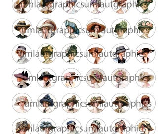Digital Collage Sheet lip Art 1 x 1 Inch Circle Vintage Ladies in Hats