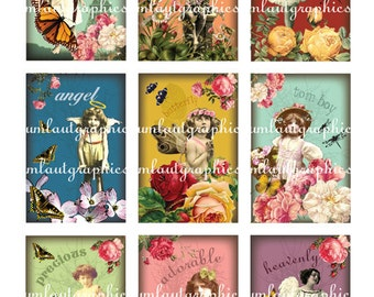 Digital Collage Sheet 2 Inch x 3 Inch Vintage Children Tags